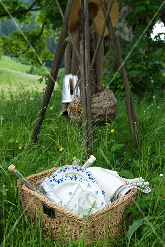 Picnic utensils in a basket