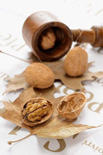 Walnuts, whole and cracked, on autumn leaves