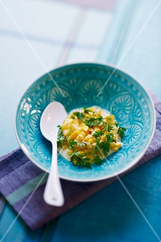 Sweetcorn risotto with fresh chervil