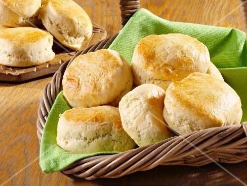 Several scones in a bread basket