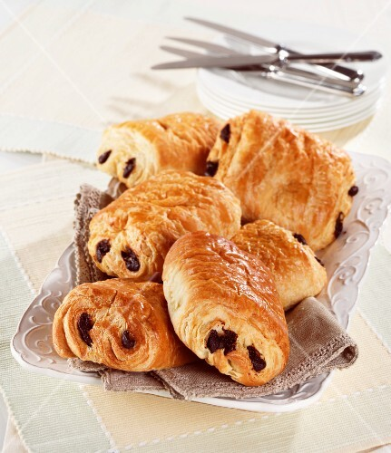 Pains an chocolat (pastries with chocolate filling, France)