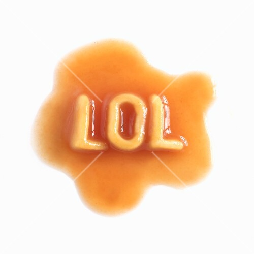 LOL spelled out in spaghetti letters