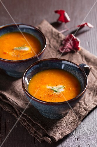 Two cups of squash soup