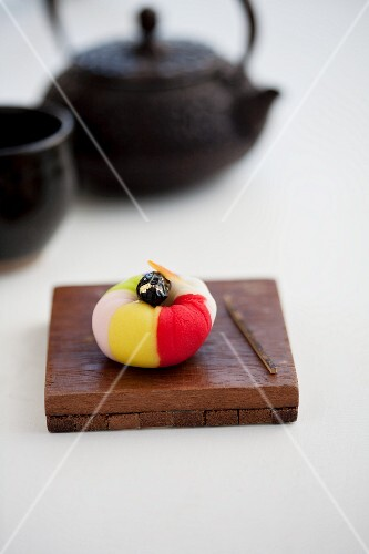 Wagashi camellia with a pot of tea (Japan)