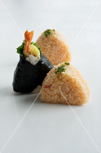 Assorted onigiri (spiced rice balls, Japan), some with nori