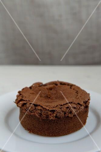 Chocolate soufflé on a plate