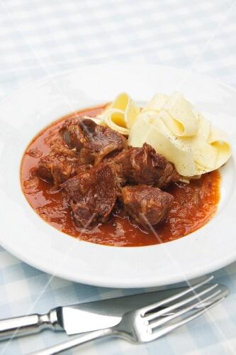 Venison goulash with ribbon pasta