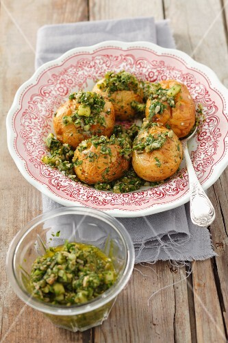 Baked potatoes with herb & caper gremolata