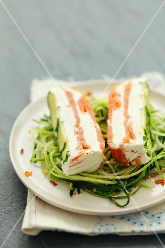 Cream cheese & smoked salmon terrine on courgette spaghetti