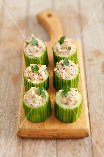 Cucumber filled with tuna paste and walnuts