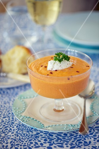 Tomato gazpacho with cream cheese