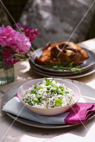 Pea and bean pilau rice