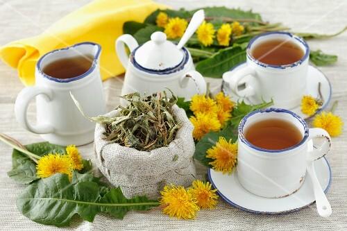 Three cups of dandelion tea, tea leaves and fresh dandelions