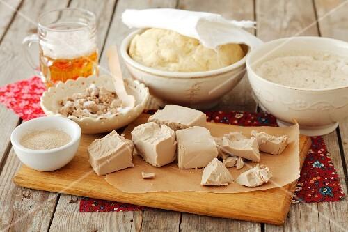Yeast (fresh, dried, yeast-raised dough, beer, sourdough)