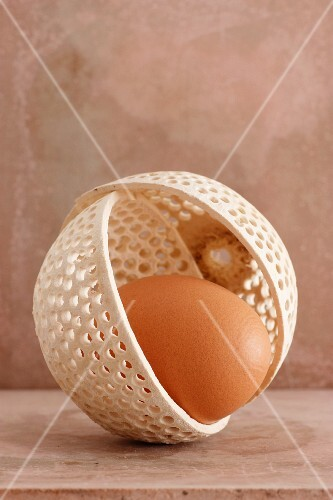A brown egg in an ornate bowl