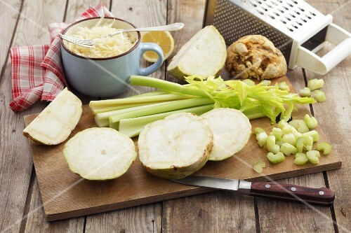 Celeriac and celery, partly sliced, with celeriac salad