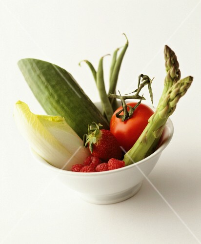 Vegetables and fruit in a bowl