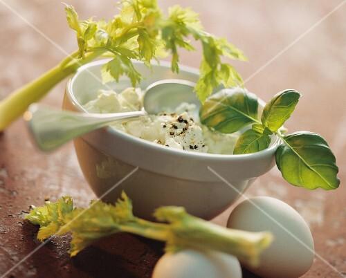 A bowl of cream cheese dip