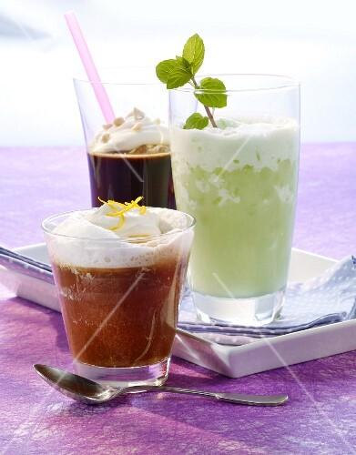 Iced orange coffee, virgin mint colada and nut & coffee