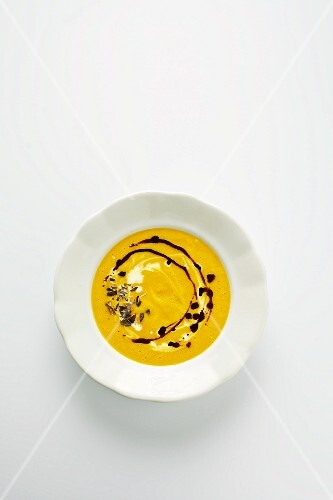 Squash soup with pumpkin seed oil