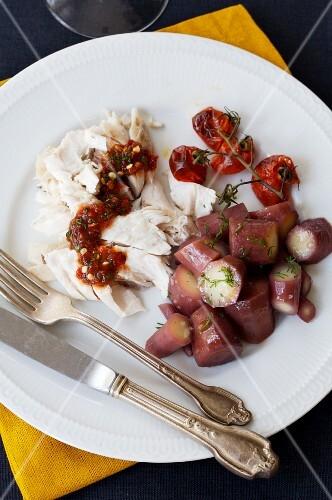 Barschfilet mit Chilisauce & Karotten