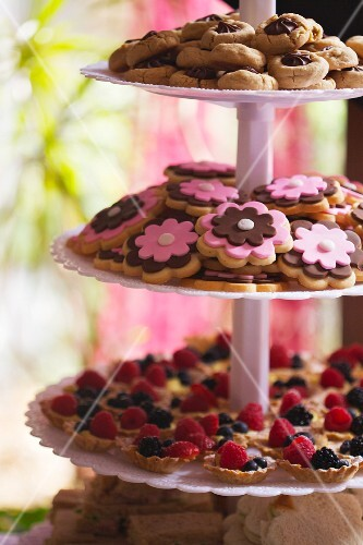 Tiered Trays of Berry Tartlets and Cookies