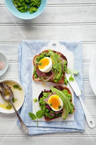 Toast mit Erbsenpüree, eingelegten Zwiebeln und Ei