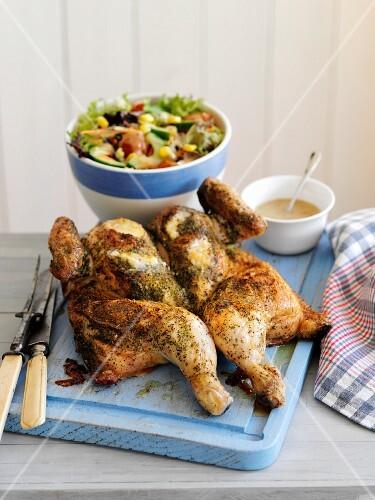 Herb roast chicken with salad