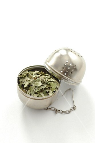 Dried birch leaves in a tea ball