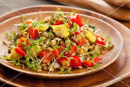 Lentil salad with grilled peppers, courgette and cress