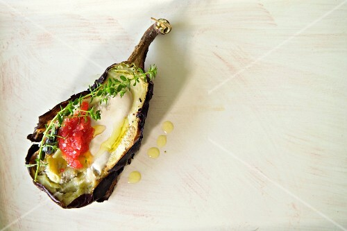 Chargrilled aubergine with tahini and olive oil