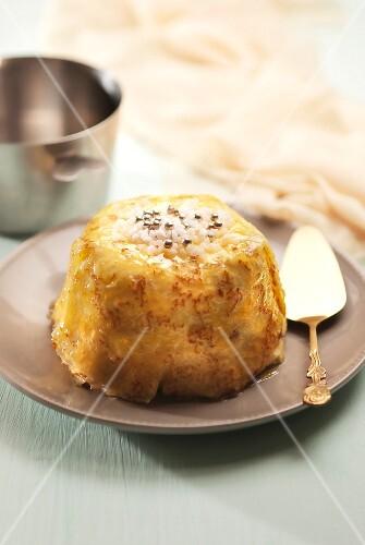 Pancake Charlotte with sugar and silver balls