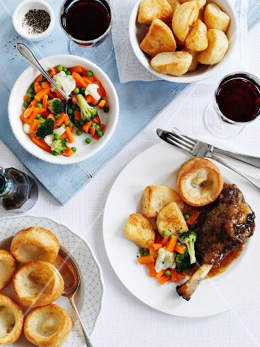 Leg of lamb with vegetables and Yorkshire pudding (England)