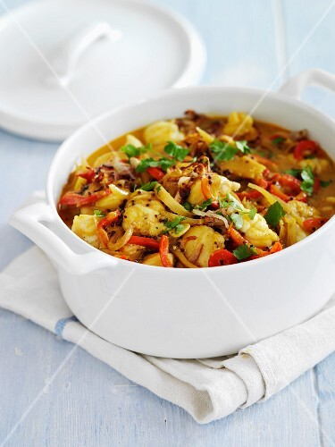 Monkfish curry with peppers