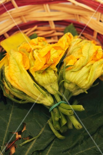 Courgette flowers, tied in a bunch, in a basket