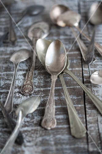 An assortment of silver spoons