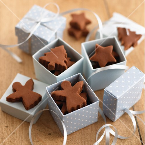 Fudge in assorted Christmas shapes (stars, angels, trees) for gifting