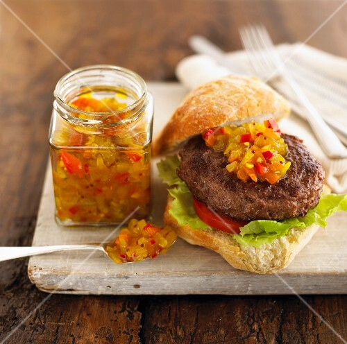Hamburger with pepper and cucumber relish