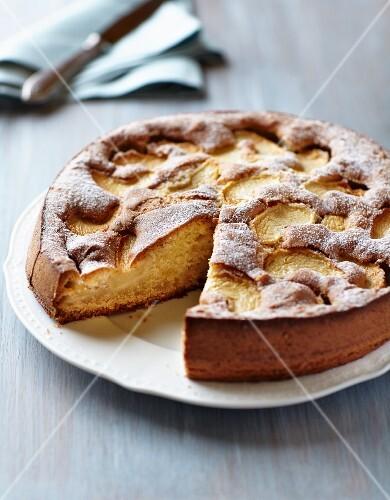 Polish apple cake (szarlotka) on a plate
