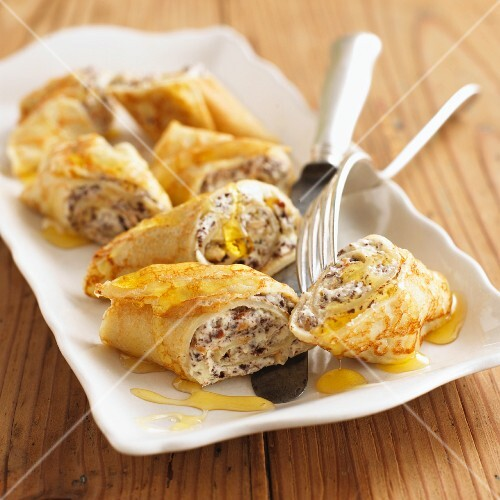 Crepes with a chocolate-nut filling