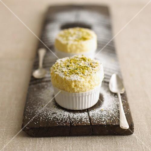 Lemon souffle with pistachios