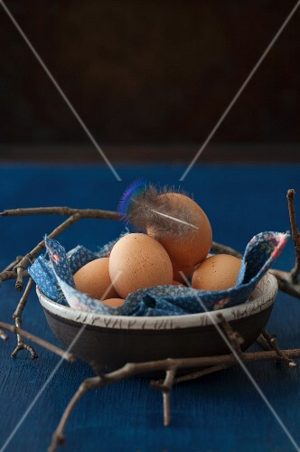 Eggs in a Bowl with a feather and twigs