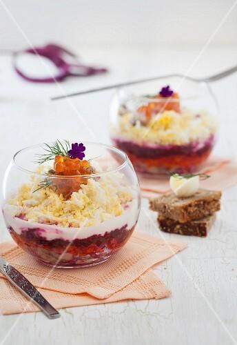 Beet Salad with Egg and Salmon Caviar