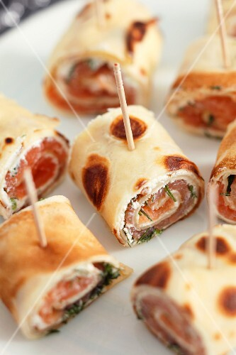 Pancake rolls with salmon and cream cheese