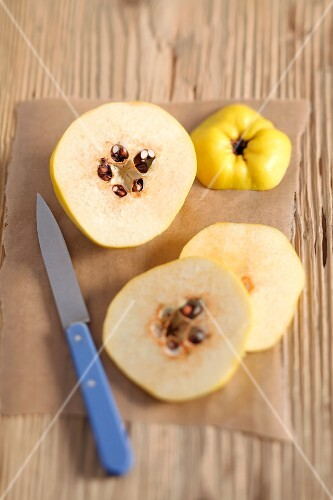A quince cut into slices