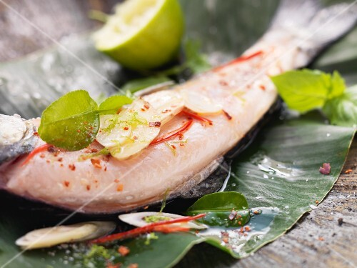 Char fillet with lemongrass and ginger in a banana leaf