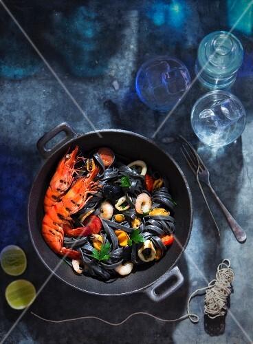 Black linguine with seafood