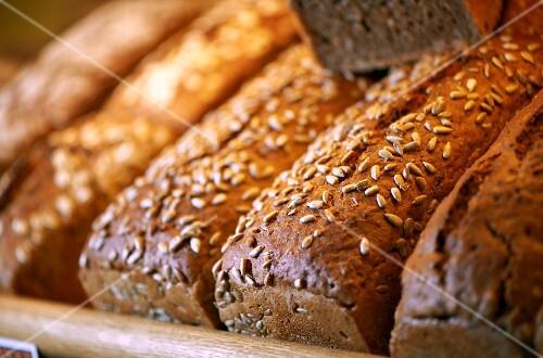 Sunflower bread on a bakery shelf