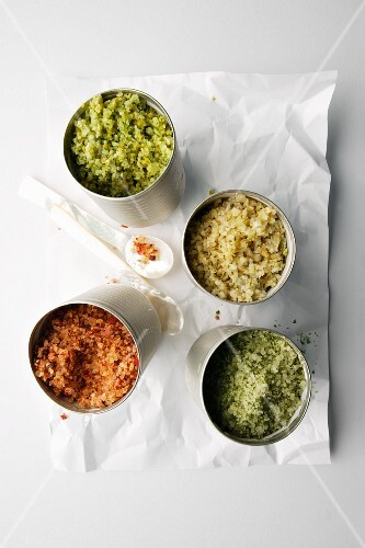 Assorted flavoured types of salt