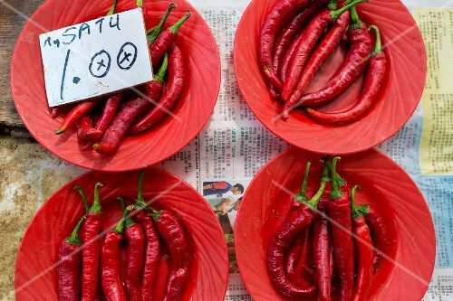 Fresh red chillies from Malaysia at a market
